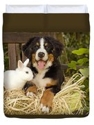 Bernese Mountain Puppy And Rabbit Duvet Cover