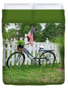 Bicycle And White Fence Duvet Cover