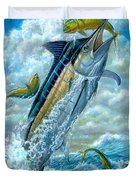 Big Jump Blue Marlin With Mahi Mahi Duvet Cover