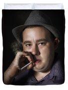 Big Mob Boss Smoking Cigarette Dark Background Duvet Cover