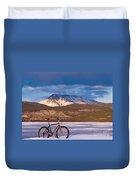 Bike On Frozen Lake Laberge Yukon Canada Duvet Cover
