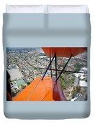 Biplane Over San Diego Duvet Cover