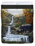 Black Bear Falls Duvet Cover by Crista Forest