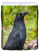 Black Tasmanian Crow Standing In Green Forest Duvet Cover