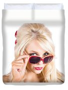 Blond Woman In Sunglasses Duvet Cover
