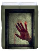 Bloody Hand On Window Duvet Cover