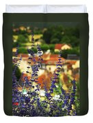 Blue Flowers And Rooftops In Sarlat Duvet Cover