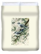 Blue Jays And Blossoms Duvet Cover