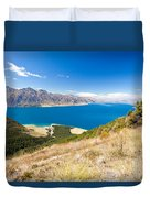 Blue Surface Of Lake Hawea In Central Otago In New Zealand Duvet Cover