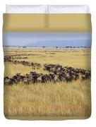 Blue Wildebeest Migrating Masai Mara Duvet Cover