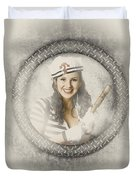 Boating Pin-up Woman On Nautical Shipping Voyage Duvet Cover
