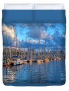 Boats In The Harbor Of Barcelona Duvet Cover