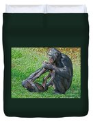 Bonobo Adult Playing With Baby Duvet Cover