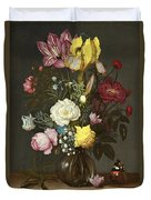 Bouquet Of Flowers In A Glass Vase Duvet Cover