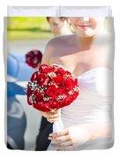 Bride Holding Red Rose Flower Bunch Duvet Cover