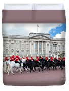 British Royal Guards Perform The Changing Of The Guard In Buckingham Palace Duvet Cover