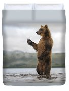 Brown Bear In River Kamchatka Russia Duvet Cover