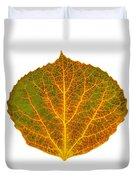 Brown Green Orange And Yellow Aspen Leaf 1 Duvet Cover