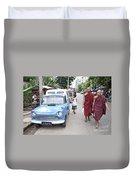Buddhist Monks In Yangon Street Myanmar Duvet Cover