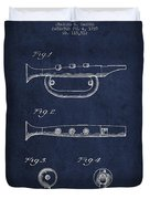 Bugle Call Instrument Patent Drawing From 1939 - Navy Blue Duvet Cover