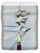 Bullet Shot Through Candle Flame Duvet Cover by Science Source