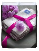 Bundle Of Old Love Letters Tied With Ribbon And Blossom Duvet Cover