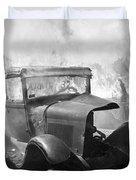 Burning Car Circa 1942  Duvet Cover