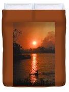 Bushfire Sunset Over The Lake Duvet Cover