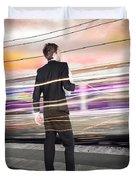Business Man At Train Station Railway Platform Duvet Cover