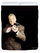 Business Man Or Corporate Crook Holding Gun Duvet Cover