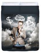 Business Man Planning Work Life Balance Strategy Duvet Cover