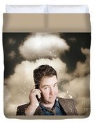 Businessman Having Bad Day. Communication Trouble Duvet Cover
