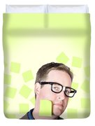 Busy Business Man With Lots Of Errands. Hard Work Duvet Cover