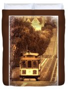 Cable Car In San Francisco Duvet Cover
