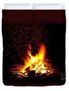 Campfire As A Symbol Of Warmth And Life On Black Duvet Cover