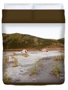 Canoe Tent Camp At Yukon River In Taiga Wilderness Duvet Cover