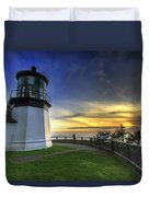 Cape Meares Lighthouse At Sunset Duvet Cover