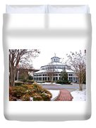 Carousel Building In The Snow Duvet Cover by Tom and Pat Cory