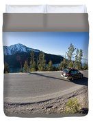 Cars Driving Along Hwy 89 Over Emerald Duvet Cover