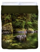 Cascade Locks, Oregon, Usa. A Woman Duvet Cover