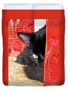 Cat Hiding Behind Drapes Duvet Cover