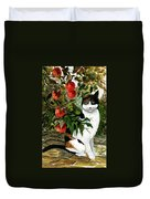 Cat On The Patio Duvet Cover