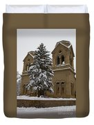 Cathedral Basilica Of St Francis In Snow Duvet Cover