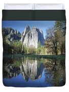 Cathedral Rock And The Merced River Duvet Cover