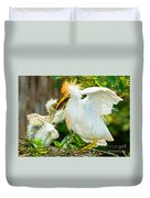 Cattle Egret With Young In Nest Duvet Cover