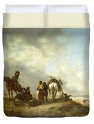 Seashore With Fishwives Offering Fish Duvet Cover