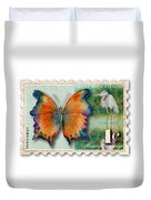 1 Cent Butterfly Stamp Duvet Cover