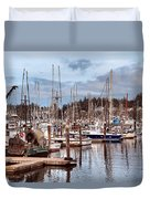 Charleston Marina Fishing Boats Duvet Cover