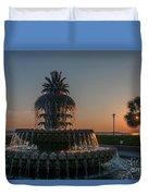 Pineapple Fountain Charleston Sc Sunrise Duvet Cover