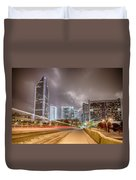 Charlotte Nc Usa Skyline During And After Winter Snow Storm In January Duvet Cover
